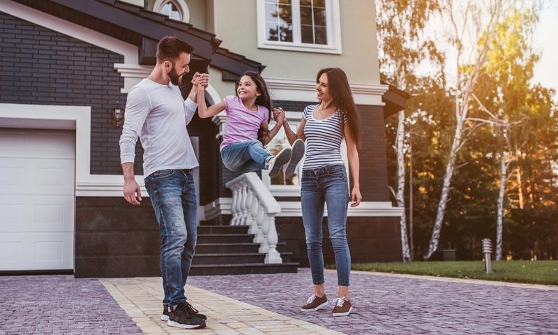 Blurb - Family outside Home
